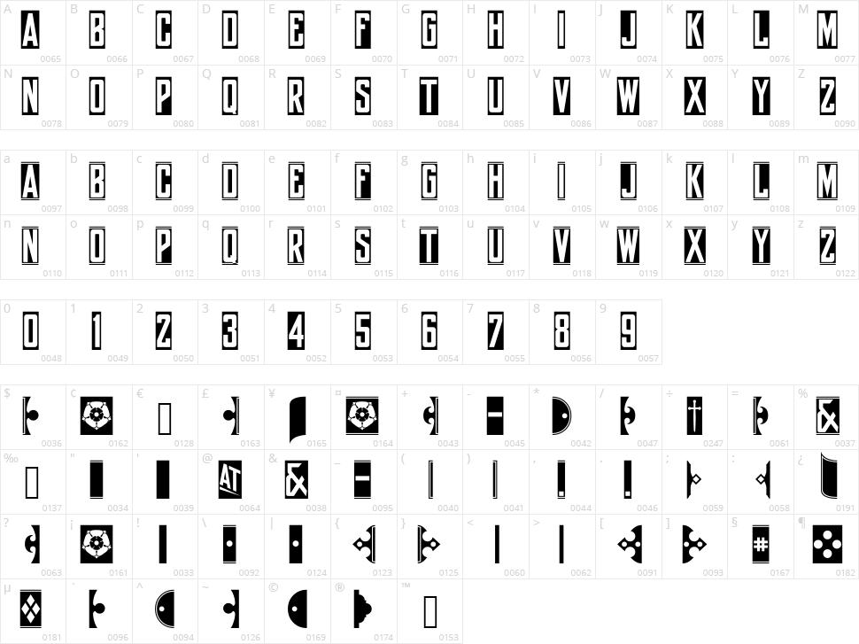 York Whiteletter Character Map