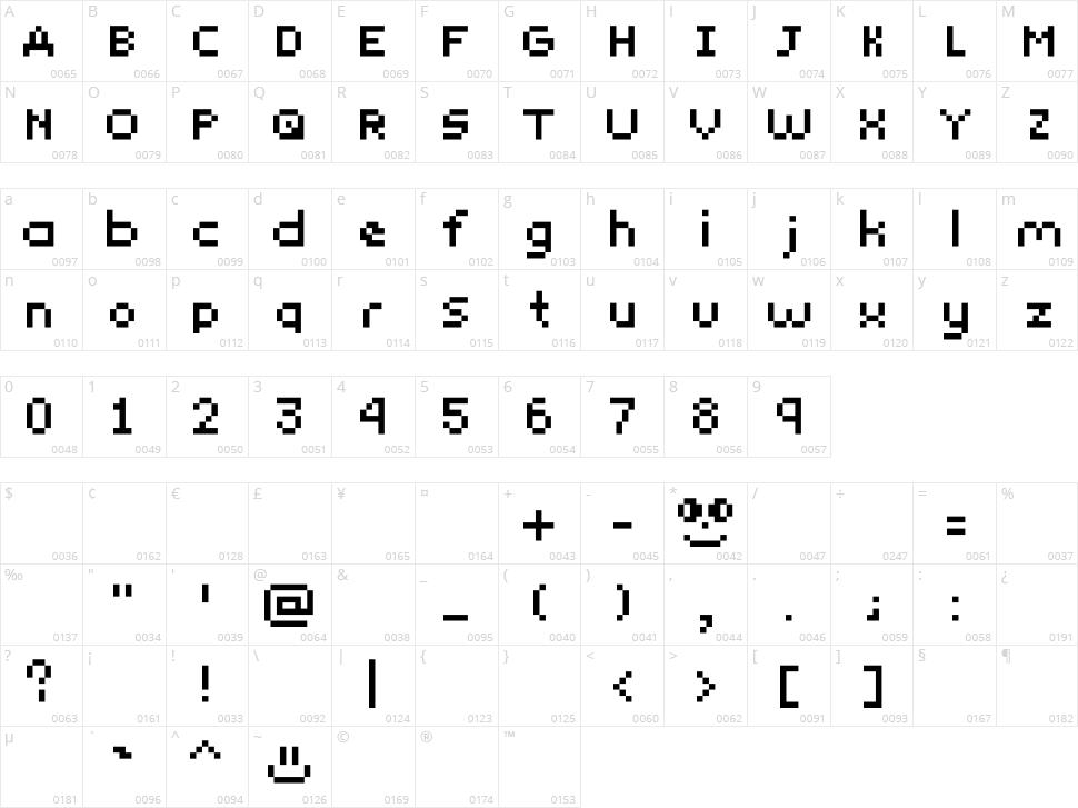 Yunapixel Character Map