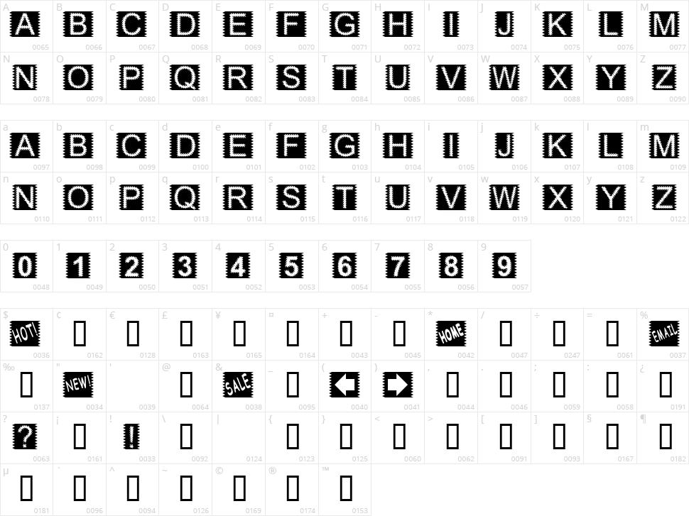 Zacken Character Map