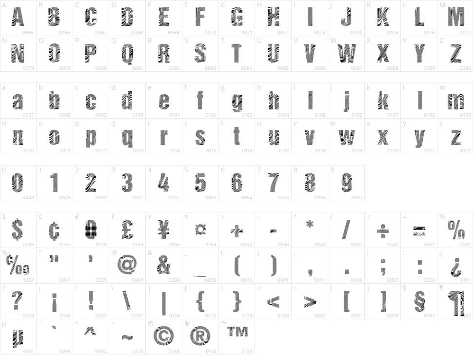 Zebretica Character Map