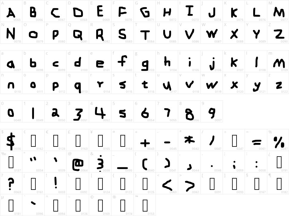 Zehk Font Character Map
