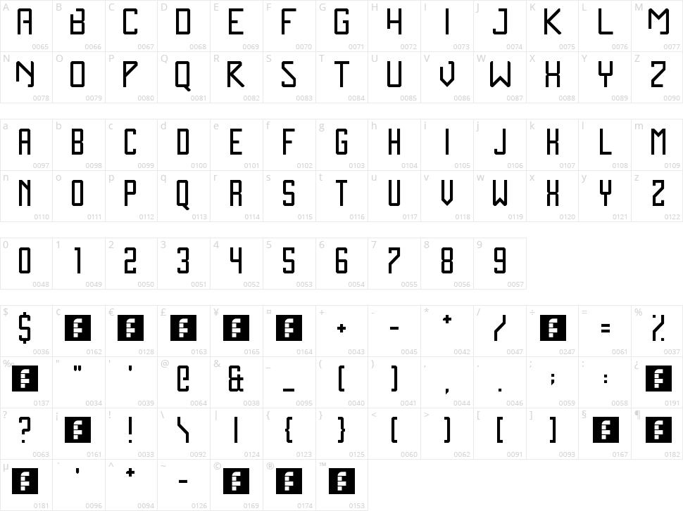 Zen Monolith Character Map