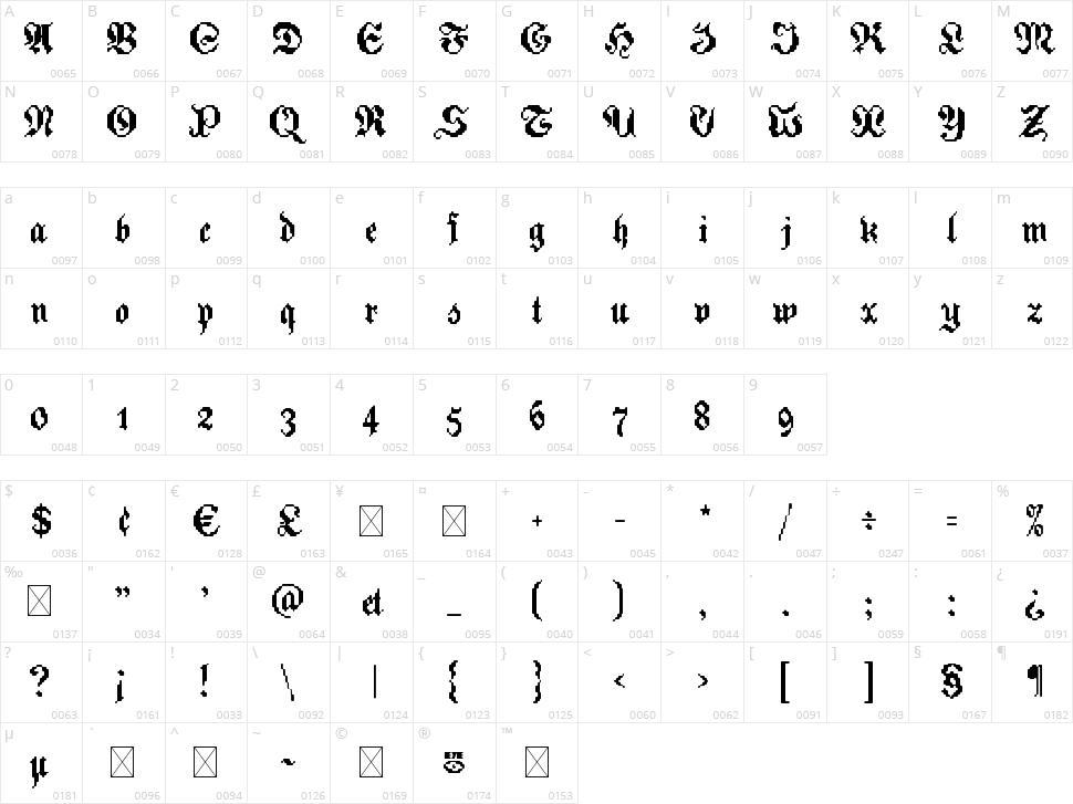 Zoftfrakt eYe/FS Character Map