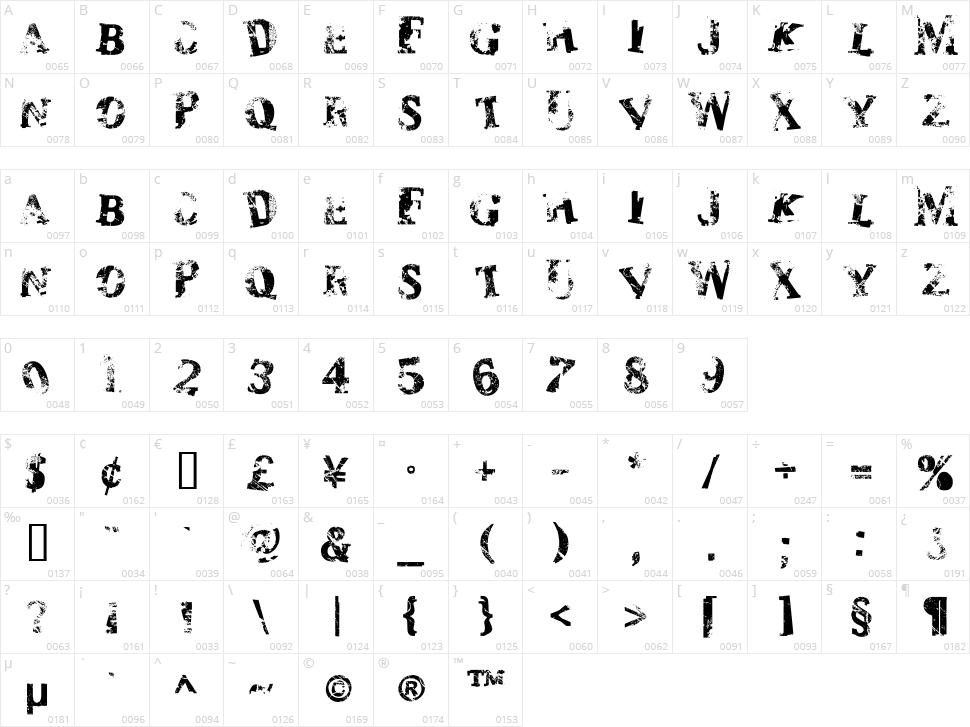 Zombilaria Character Map