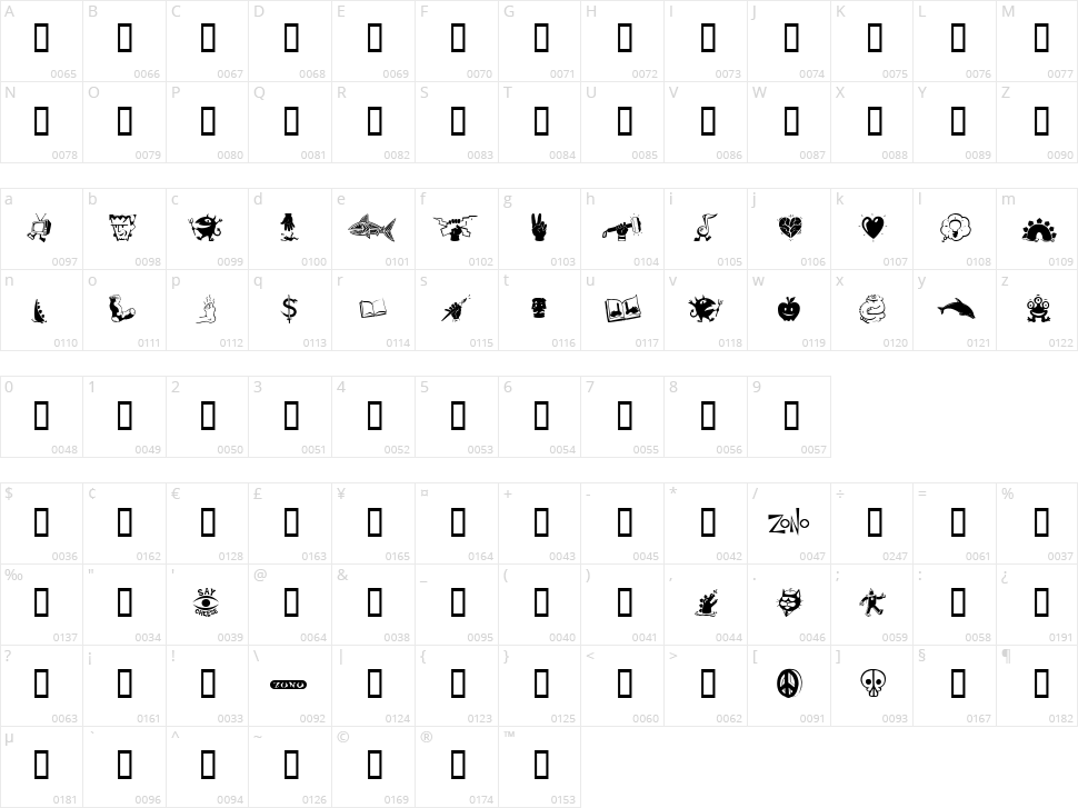Zono Dingbats Character Map
