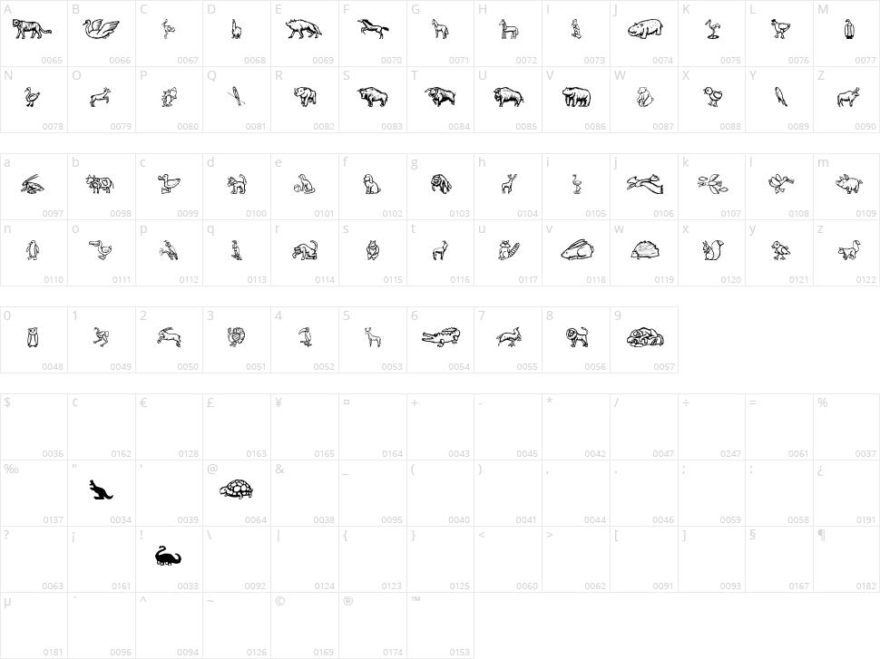 Zoo Woodcuts M Character Map
