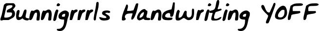 Bunnigrrrls Handwriting YOFF Font