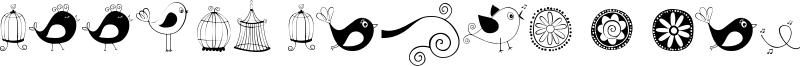 Doodle Dings 1 Birds Cages Font