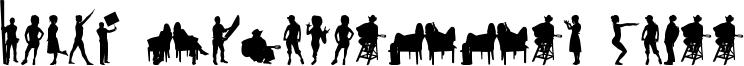 Human Silhouettes Three Font