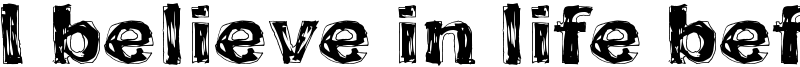 I believe in life before death Font