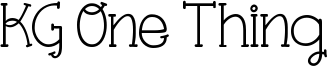 KG One Thing Font