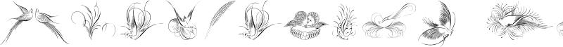 Penmanship Birds and Ornaments Font